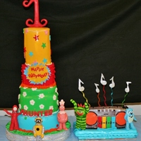 Yo Gabba Gabba Cake! This cake was 3 Ft tall! Cake inside was rainbow with coconut buttercream - Each Gabba friend was hand sculpted of modeling chocolate &amp...