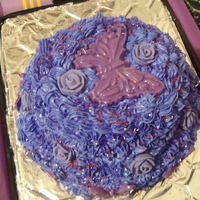 Moms 82Nd Birthday Cake Purple birthday cake with purple roses and butterflies in chocolate