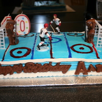 Aaron's 10Th Birthday Cake Hockey cake with Chocolate goalies with pictures on them.