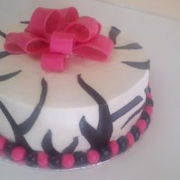 Hot Pink & Zebra Baby Shower Cake