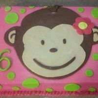 Mod Monkey Girl's 6Th Birthday Cake Chocolate mod monkey cake with pink buttercream icing adorned with MMF polka dots and monkey's face.