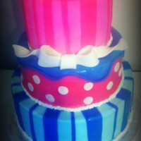 Pink And Blue Dual Baby Shower Cake With Baby Butts Three tier baby shower cake for a dual shower for a sister and sister in law. Could also be a good inspiration for a twins shower! MMF baby...