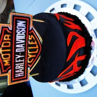 Harley Davidson Flame Birthday Cake MMF Flames with black buttercream icing on cake