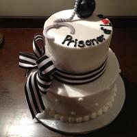 Prisoner Of Love Themed Wedding Shower Cakecake Is Covered In Buttercream Icing With Ball And Chain Made Out Of Fondant Ribbon Was Pur Prisoner of Love themed wedding shower cake....cake is covered in buttercream icing with ball and chain made out of fondant. Ribbon was...