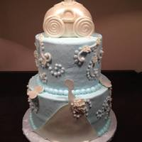 Bridal Shower Cake For A Cinderella Themed Showercake Is Covered In Buttercream Icing With Fondant Accents And Fondant Carriage Bridal shower cake for a Cinderella themed shower....Cake is covered in buttercream icing with fondant accents and fondant carriage
