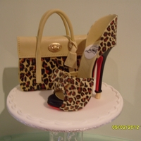 Mulberry Bayswater Bag & Louboutin Leopard Print Shoe Novelty Cake Toppers, Sugar Mulberry Bayswater leopard print bag and Christian Louboutin style leopard print bowknot pump complete with red...
