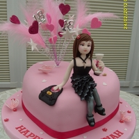 Party Girl, 18Th Birthday Sugarcraft modelled party girl. Pink and Glitz Raspberry swirl sponge heart.