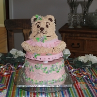 "Birthday Bear Cake This was a pretty easy cake. Used Wiltons 3-D cake mold for the bear and 9"" round bottom tier."