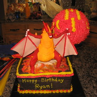 Bakugan Draco I made this cake for my son's birthday. He wanted Draco from Bakugan. I used a ball pan and made the ball form of Draco and molded the...
