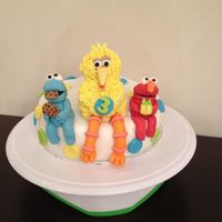 Sesame Street Birthday Cake With Fondant Big Bird Elmo And Cookie Monster Sesame Street Birthday Cake with fondant Big Bird , Elmo, and Cookie Monster