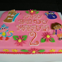 Dora Cake Dora birthday cake. The covering is MMF, all other decorations are Wilton fondant cut with a cricut cake.