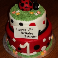 Lady Bug Cake All fondant, except grass is buttercream.