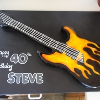 Electric Guitar Cake Black Guitar with Red, Orange and Yellow Flames
