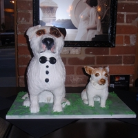 Dog Wedding Cakes The bride and groom wanted their dogs to be the cakes. They also has another small cake to cut into. They didnt eat the dogs!
