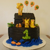 Noah's Ark Birthday Cake Noah's Ark birthday cake is covered buttercream. The animals are made of modeling chocolate.
