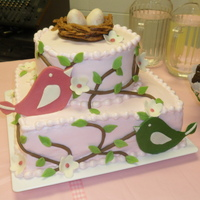 Twin Bird Baby Shower Cake The birds, branches and eggs are made of modeling chocolate. The birds nest is made of sugar cookies.