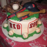Basball Glove, baseballs & bat is made with rice crispies. Covered with fondant & choc fondant. Firm buttercream was used for grass.