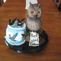 Owl Birthday Cake Owl is made of rice krispie covered with fondant. Each feather was cut individually & shaded. Tree is choc buttercream & choc...