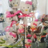 "Hello Kitty Cake Pops This was an ""extra"" I tried for the Hello Kitty b'day theme. The same cookie cutter I made that I used for cookies on..."
