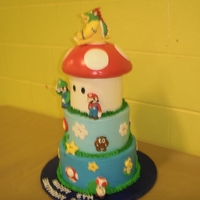 Super Mario Brothers Cake   Our grandson asked me to make a Mario Bros. cake for his 6th birthday. If I made this cake again I would make the mushroom much smaller.