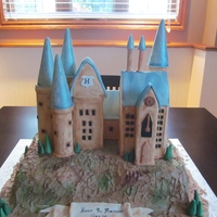 Hogwarts Castle Hill is made from cake and Castle is made from rice krispies