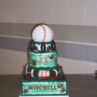 Batter Up  What was unique about this cake is that I managed to make the baseball on the top turn around. The birthday boy played a lot of different...