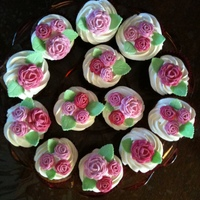 Roses   banana cakes with lemon cream cheese icing