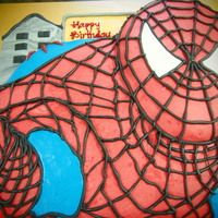 2D Spiderman Cake Am using steam buttercream and fondant. It is chocolate moist cake covered with chocolate ganache and steam buttercream.