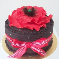 Red Flower Chocolate moist cake with big flower