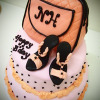 2 Tiered With Hand Bag And Shoe Steam Buttercream with figurine