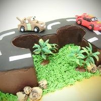 Cars Theme Chocolate cake with number 3