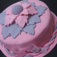 Pink And Purple Them Cake Chocolate moist with fondant