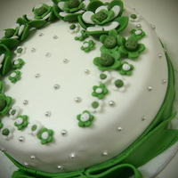 Apple Green Theme Engagement Cake Steam buttercream with fondant deco.