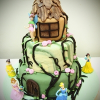 Princesses And Castle Chocolate moist cake with fondant