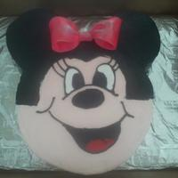 "Minnie Mouse   Dbl layer 10"" head, 5"" ears. All buttercream; bow gumpaste air brushed with luster dust."
