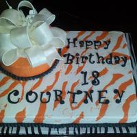Courtneys Birthday Cake   all buttercream. bow made of gumpaste