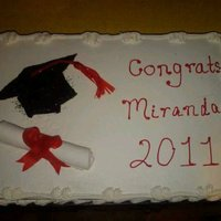 Graduation...   top of cap is chocolate, bottom is piped. Scroll is fondant. Tassle and ribbon is fruit roll up.