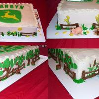 John Deere John Deere logo with Fondant farm animals all the way around the base of the cake.