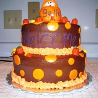 Baby Shower Cake For October A friend found a picture and wanted something similar to it. Pumpkin Cake with Chocolate Cream Cheese Icing. Accents in fondant and RKT and...