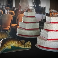 Bowhunters In Love Multishape buttercream cake with scuplted gar grooms cake