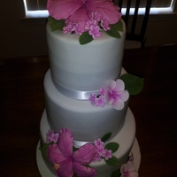 Magenta Flowers Wedding Cake