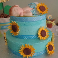 "Sonflower Baby Shower Buttercream Cake ""Son""flower Baby ShowerButtercream cake"