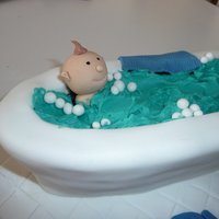 Baby Bath Tub Made for a first birthday, chocolate mud carved.Thanks to my fellow cc'rs for the inspiration!