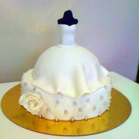 Bride 3D Dress  Bridal Shower Cake.Bottom is 8 inch round and I used the wilton ball pan for the dress. I made the bodice with use of the tutorial on this...