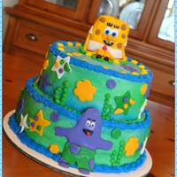 Spongebob Cake Buttercream Icing with MMF Decorations..