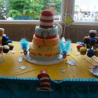 Dr Suess  This was my first stacked cake for my godson's first birthday. Bottom tier white cake w/ strewberry short cake filling, middle tier...