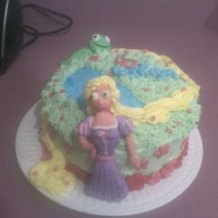 Tangled Cake Chocolate cake with vanilla buttercream and the figures are made out of fondant