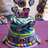 Funky Birthday All fondant with colored sugar crystals