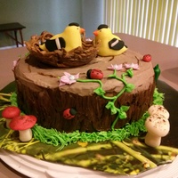 Bird's Nest (Goldfinch) Tree Stump Cake This is a fudge marble cake covered in buttercream to look like tree bark. The nest is made from melting chocolate. The birds, ladybugs,...