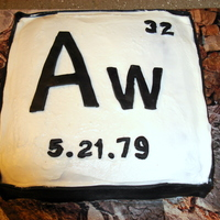 Chemistry Cake I made this cake for a chemist in the style of an element on the periodic table, using the birthday boy's initials and birth date. I...